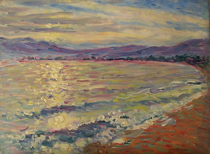 Near Cannes, South of France Oil on panel, 10 1/2 x 13 3/4 inches  Signed lower right: Dambourgez