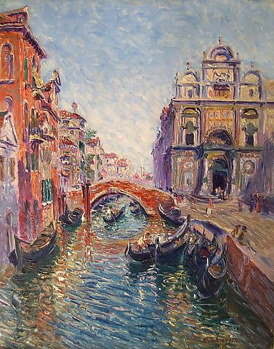 Venise-Canal Oil on panel, 16 x 13 inches  Signed lower right : Dambourgez