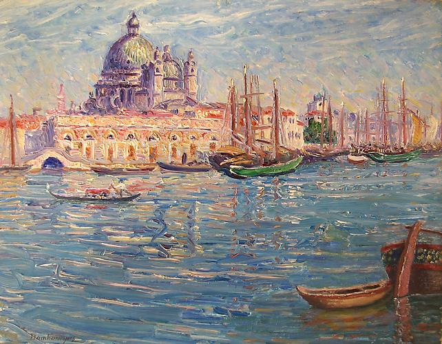 Venise-Grand Canal, Salute Oil on panel, 12 1/2 x 16 inches  Signed lower left : Dambourgez