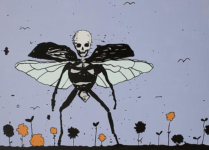 Death Beetle, 2012 Acrylic and Enamel on Canvas over Panel, 32 x 48 inches.