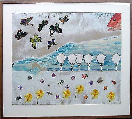 "Varujan Boghosian, 2007  Deluge , collage 33.25"" x 28"""