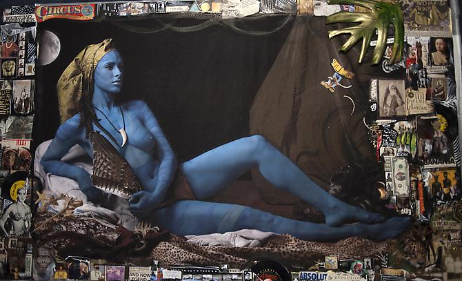 Delphine Diallo Avatar, 2011.  Mixed media on paper, 44 x 73 inches.