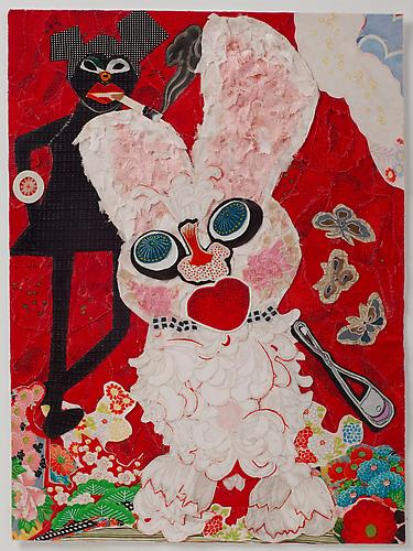 Minnie Crack, 2011 vintage kimono silks 16 x 11 inches