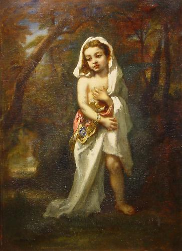 Jeune Fille dans le Bois, 1853 Oil on canvas, 22 x 16 inches (30 x 24 inches framed) Signed and dated lower left: N. Diaz 53  Price upon request