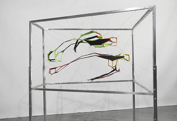 Dissected Wetsuits, 1997 Neoprene Body Glove, stainless steel, surgical wire and aluminum frame, dimension variable