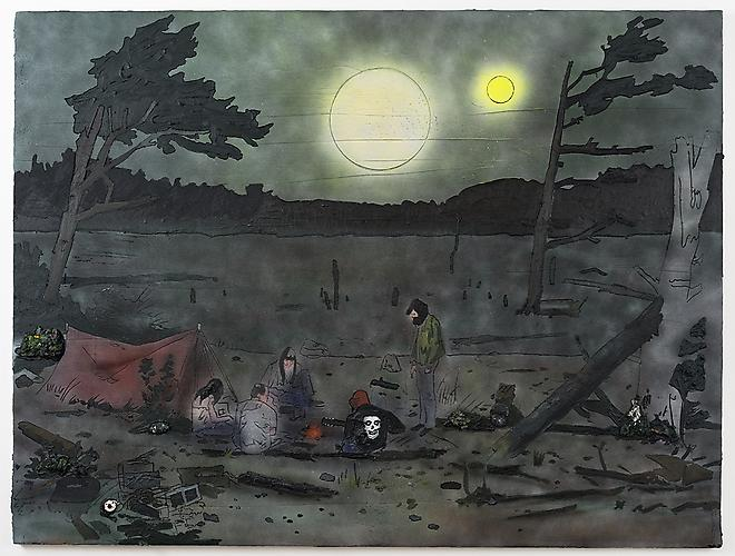 Kent Dorn  Campfire Song (Waiting for the Eclipse) , 2013 Mixed media on canvas 72 x 96 inches