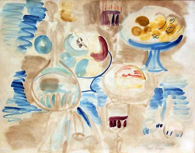 Nature Morte a la Carafe Watercolor on paper 19.9 x 25.7 inches (48 x 63 cm) Signed in pencil lower right: Raoul Dufy