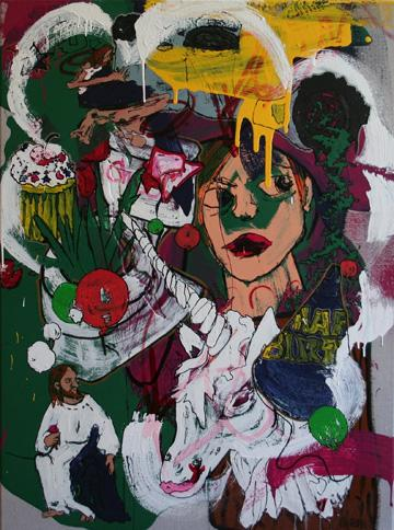 EPIC BIRTHDAY PARTY , 2012 Acrylic enamel, ink and paint marker on canvas 40 x 30 inches