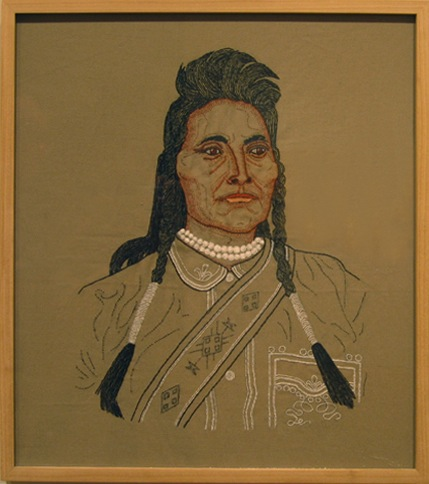 Lone Wolf, or Guipago of the Kiowa, 2006  (From  Bury My Heart at Wounded Knee  series) Embroidered thread on cloth, 21 x 17 in. Private Collection