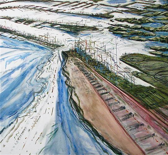 Judith Belzer, Edgelands #6 (2012) Oil On Canvas 38h x 42w in (96.52h x 106.68w cm)