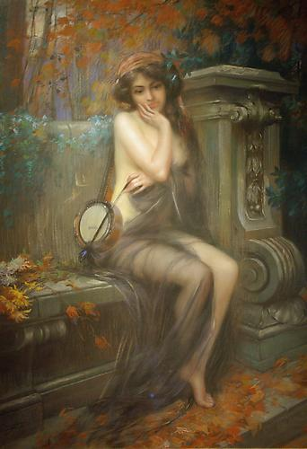 The Muse of Autumn  Pastel on canvas, 36 x 26 inches (43 x 36 inches framed) Signed lower left: D. Enjolras Price upon request