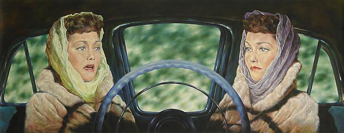 1954 Lincoln Capri (All That Heaven Allows), 2011   Oil on linen  18 x 46 inches
