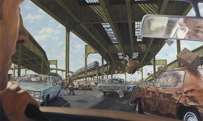 1971 Pontiac LeMans Hardtop Sedan (The French Connection), 2012   Oil on canvas  72 x 120 inches