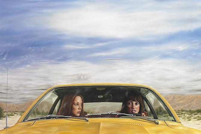 1973 Ford Pinto with Tanguy Sky (3 Women), 2011   Oil on canvas  40 x 60 inches