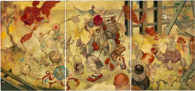 Toymaker, 2008  Oil on Paper 41 x 90 inches