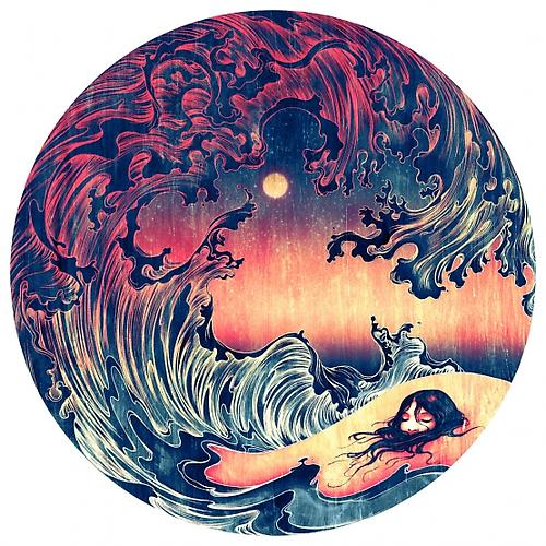 Wave (Buried), 2012 Archival Inkjet Print Mounted on Aluminum  44 inches Diameter