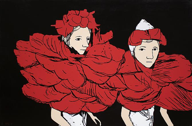Flower Girls, 2012 Enamel on Canvas, 48 x 72 inches.