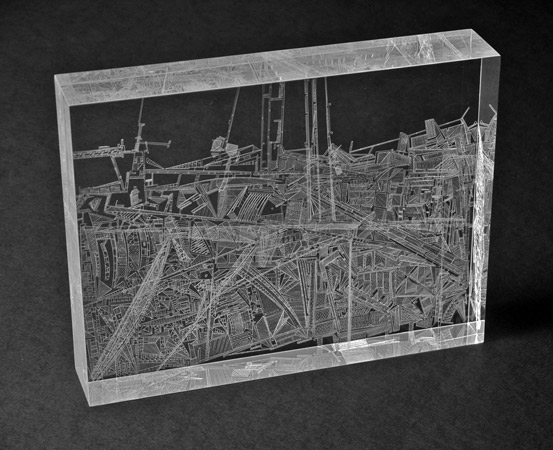 Frozen Ream , 2011, cuts on plexiglas, 11 x 8.5 x 2 inches