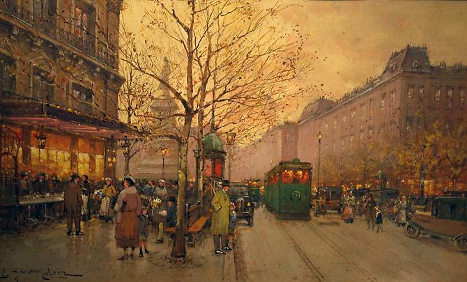 SOLD Place de la Rebublique Gouache on paper, 7.25 x 12 inches  Signed lower left: E. Galien-Laloue