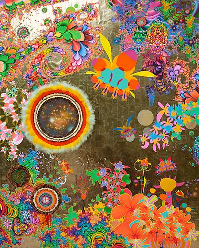 The Promise Land, 2013 Acrylic, ink, colored pencil, feathers, quills, crystals, mica with resin on wood panel 90 x 72 inches 228.6 x 182.9 cm