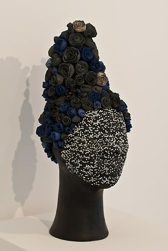 "What's Her Face Series, ""Beaded Head"", 2012 Terracotta, porcelain, india ink, glass beads and epoxy 20.25 x 8 x 8.25 inches"