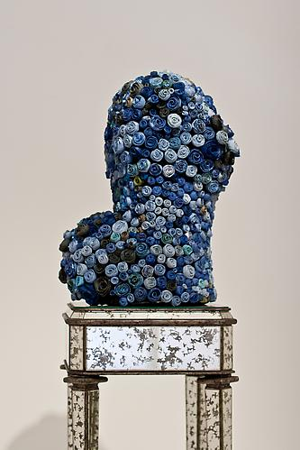 "What's Her Face Series, ""Blue Torso"", 2012 Terracotta, porcelain, epoxy 27 x 13 x 14.5 inches"