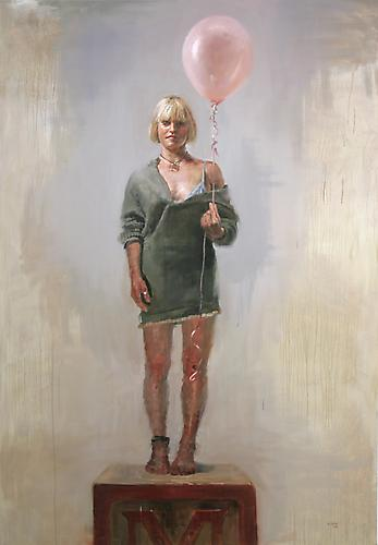 Jorg Dubin Girl With a Pink Balloon