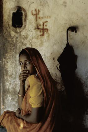 Gujarati girl at home during the monsoon- Gujarat, India