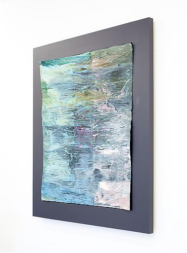 Henrik Olai Kaarstein Civilized Falls, 2012 paint, iridescent medium, acetone, crepe paper, glue, carboard 39.37 x 31.5 inches