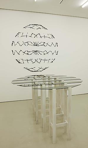 Heather Rowe plans that have fallen through, 2006 glass, wood, flocked wallpaper, Bruno Taut plan (partial) for Glashaus, 1914 table - 72 x 84 x 41 inches, drawing - 72 x 72 inches