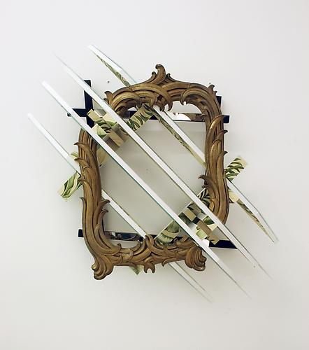 Heather Rowe Plants and Rags, 2009 mirror, wallpaper, frame, gold hook, wood 36 x 36 x 7 inches