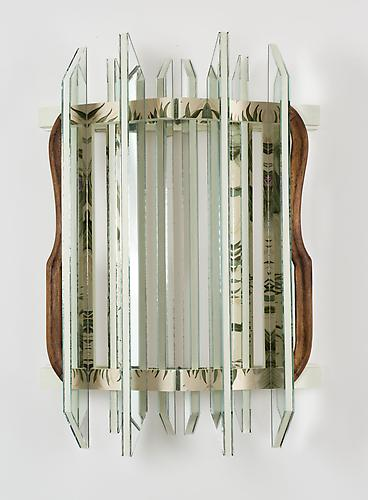 Heather Rowe Untitled 2010  30 x 21 1/4 x 8 1/2 inches mirror, wallpaper, paint, hunges