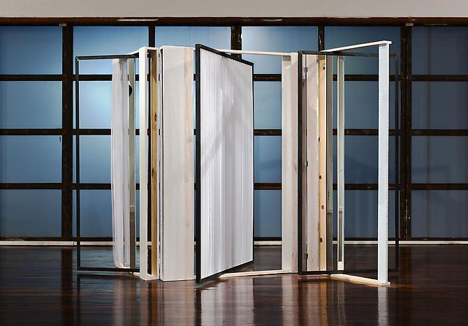 Heather Rowe All Day Light 2010  132 x 64 x 67 inches voile, metal, mirror, wood, wallpaper, paint Installation View: Immaterial, Ballroom Marfa, Marfa, TX. October 1, 2010 - February 20, 2011.