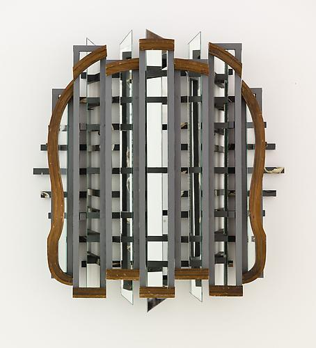 Heather Rowe Untitled 2010  30 x 34 x 7 1/4 inches mirror, wallpaper, paint, hinges