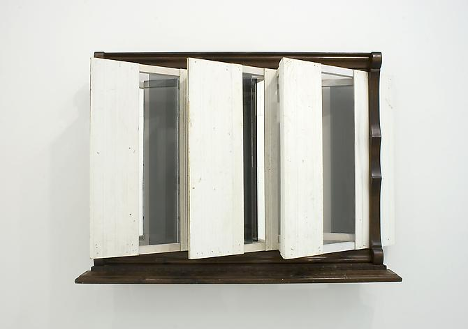 Heather Rowe Paneled Insomnia, 2011 wood, wallpaper, mirror, glass, faux fur, frames 36 1/2 x 52 1/2 x 14 inches