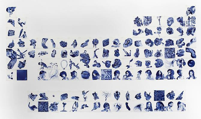 Elements, 2012 Ink on drafting film 70 x 126 inches (Grid of 118)