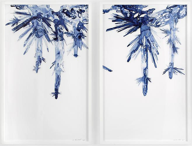 Hanging Crystalline Forms I & II, 2011 Ink on drafting film 25 x 40 inches each