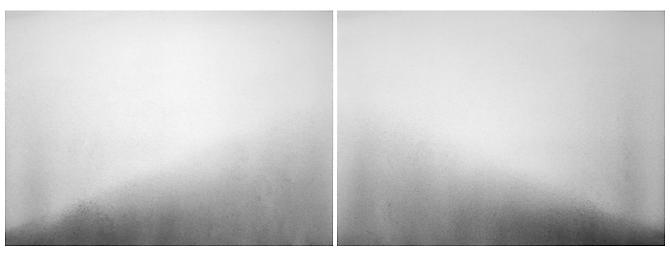 Halved Mound, 2010 Graphite on Rives BFK, diptych 28 x 51 inches overall $2,000