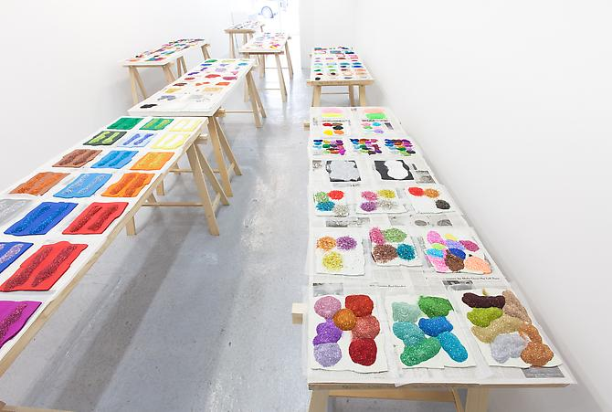 "Polly Apfelbaum Color Revolts, 2011-2012 glitter and plasticine varied dimensions  Installation View: Hansel and Gretel Picture Garden, New York, NY. ""Flatland: color revolt,"" March 1 - April 28, 2012"