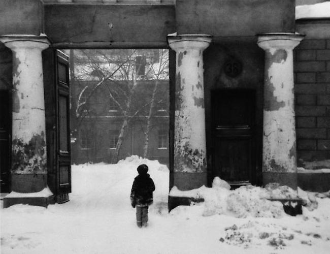 Helsinki, Finland, [boy and pillars] 1978 gelatin silver print