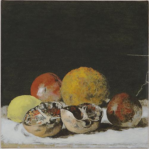 A Still Life with Pomegranate , 2012 Oil on linen 12 x 12 inches