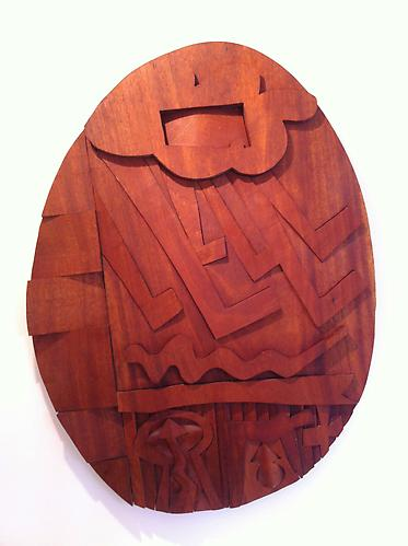 Hugh Townley  Some Source of Thunder - Omaha , 1984 mahogany, 36 x 26.5 inches Listing #12