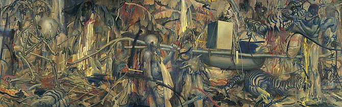 Hunting Party, 2009 Acrylic, oil, pastel, & wax on canvases 60 x 192 inches