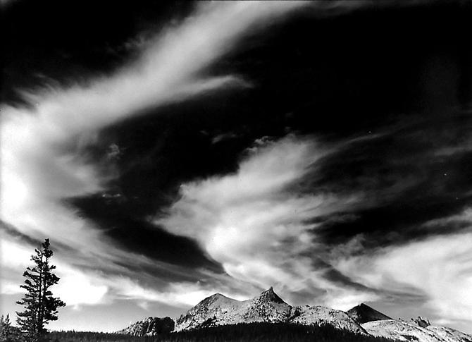 Cirrus Over Cathedral Peak, Tuolumne Meadows, Yosemite 1949 gelatin silver print