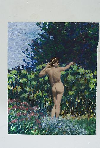 Hydrangea Bush Boy, 1996 Oil on Canvas 16 x 16 inches 40.6 x 40.6 cm
