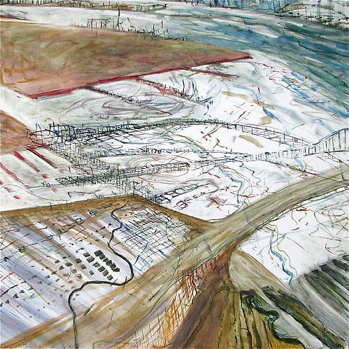 Judith Belzer, Edgelands #7 (2012) Oil On Canvas 40h x 40w in (101.6h x 101.6w cm)
