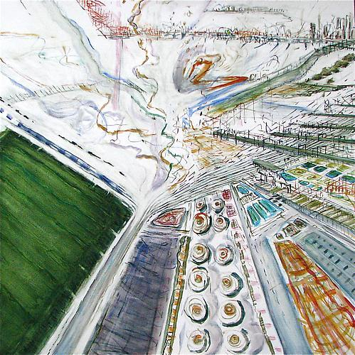 Judith Belzer, Edgelands #8 (2012) Oil On Canvas 40h x 40w in (101.6h x 101.6w cm)
