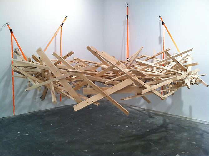 Don Edler  Sagan's Nest , 2012 Pine, drywall screws, ratchet straps and eyehooks 12 x 12 x 10 feet