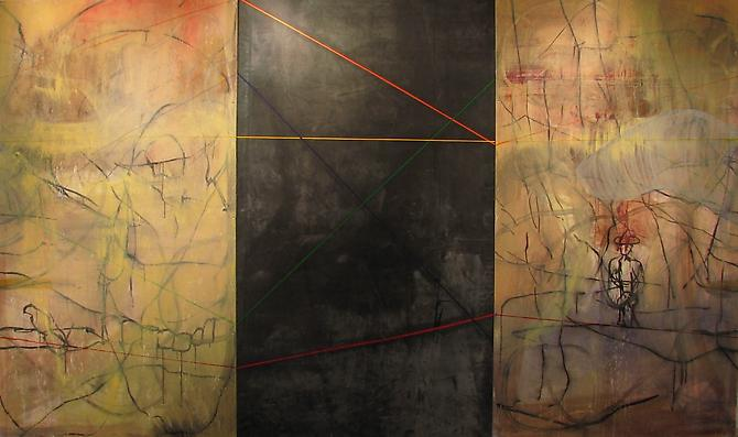 Cesare DeCredico  Dead Air , 2012 Mixed media on wood and rubber 84 x 144 inches