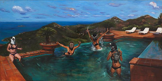 In There Like Swimwear, 2008 – 2009 Oil on linen 20 x 40 inches